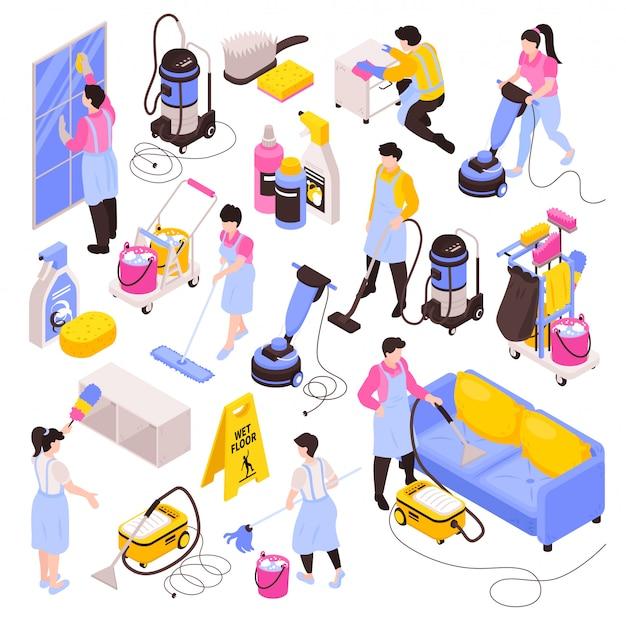 Isometrische schoonmaakservice set van geïsoleerde afbeeldingen reinigingsproducten wasmiddelen stofzuigers en mensen in uniform Gratis Vector