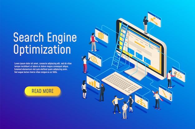 Isometrische seo-optimalisatie. website team computer optimaliseren. 3d seo-website optimaliseren Premium Vector