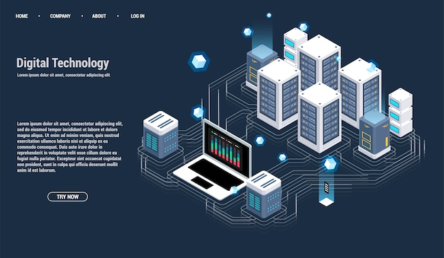 Isometrische serverruimte en groot gegevensverwerkingsconcept, datacenter en databasepictogram Premium Vector