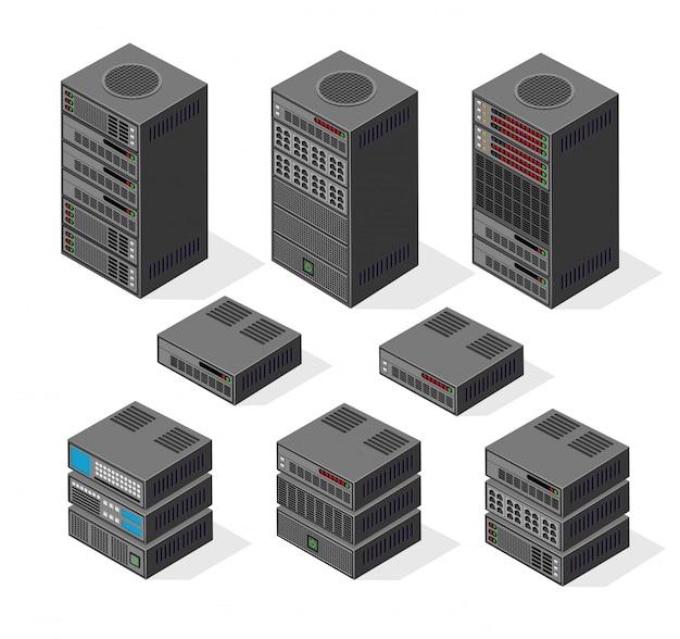 Isometrische set 3d-computer Premium Vector