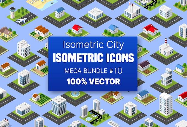 Isometrische set gebouw huizen iconen van blokken module Premium Vector