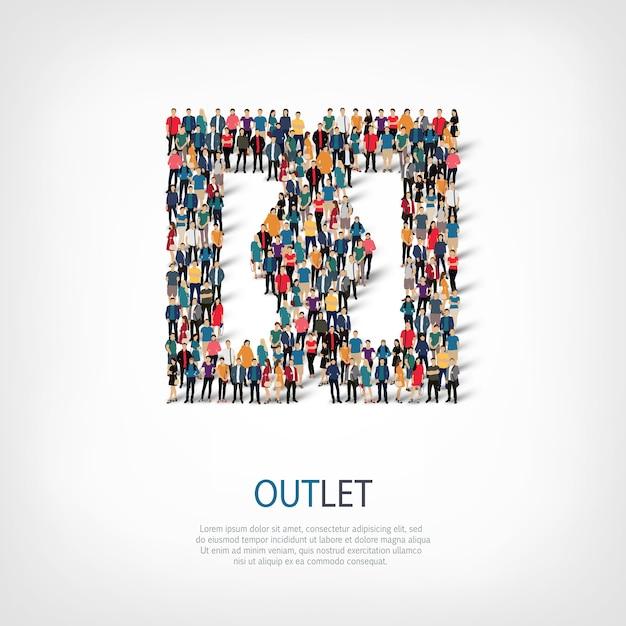 Isometrische set stijlen, outlet, web infographics concept illustratie van een druk plein. menigtepuntengroep die een vooraf bepaalde vorm vormt. Premium Vector