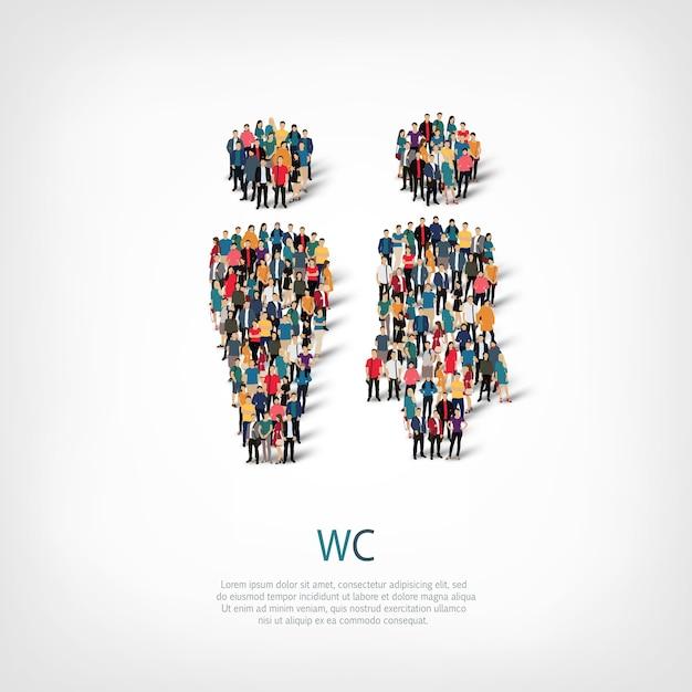 Isometrische set stijlen, wc, web infographics concept illustratie van een druk plein. menigtepuntengroep die een vooraf bepaalde vorm vormt. creatieve mensen. Premium Vector