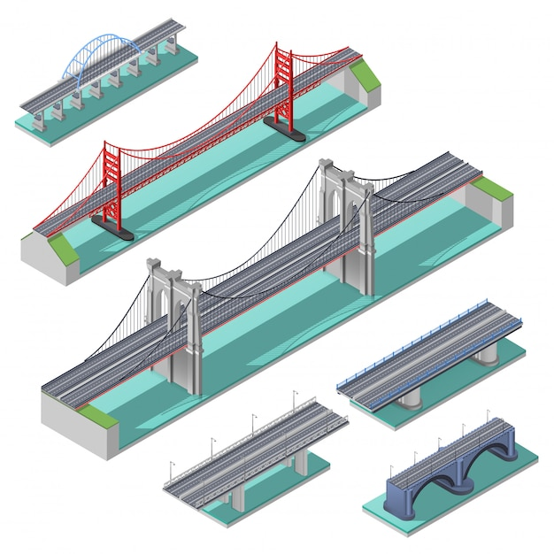 Isometrische set van bruggen Gratis Vector
