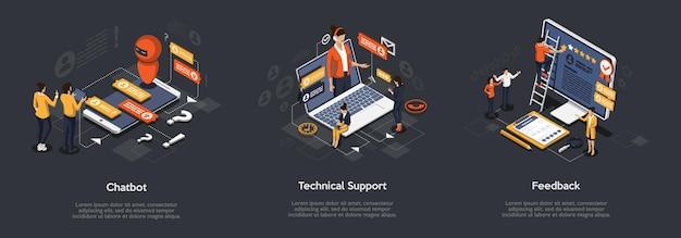 Isometrische set van chatbot, technische ondersteuning en feedback. Premium Vector