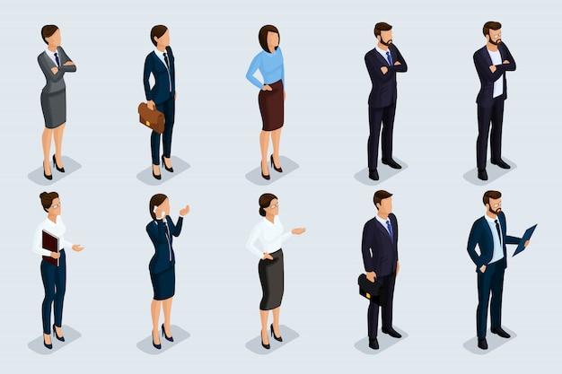 Isometrische set van mannen en vrouwen in zakelijke kleding, van een bedrijfscode van mensen uit het bedrijfsleven. zakenlieden op een grijze geïsoleerde achtergrond ,. Premium Vector