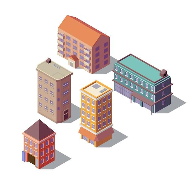 Isometrische set van residentiële gebouwen Gratis Vector
