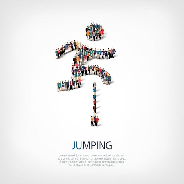 Isometrische set van springen, man, web infographics concept van een druk plein Premium Vector