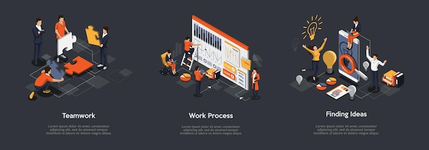 Isometrische set van teamwerkproces, werkproces en het vinden van ideeën concept. Premium Vector