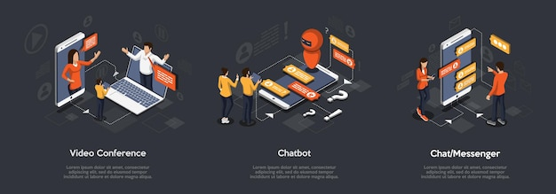 Isometrische set van videoconferentie, chatbot en chatboodschapper. 3d isometrische illustratie van digitale marketing. Premium Vector