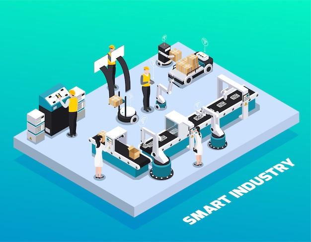 Isometrische slimme industrie gekleurde samenstelling met productie en verpakking bij slimme fabrieks vectorillustratie Gratis Vector