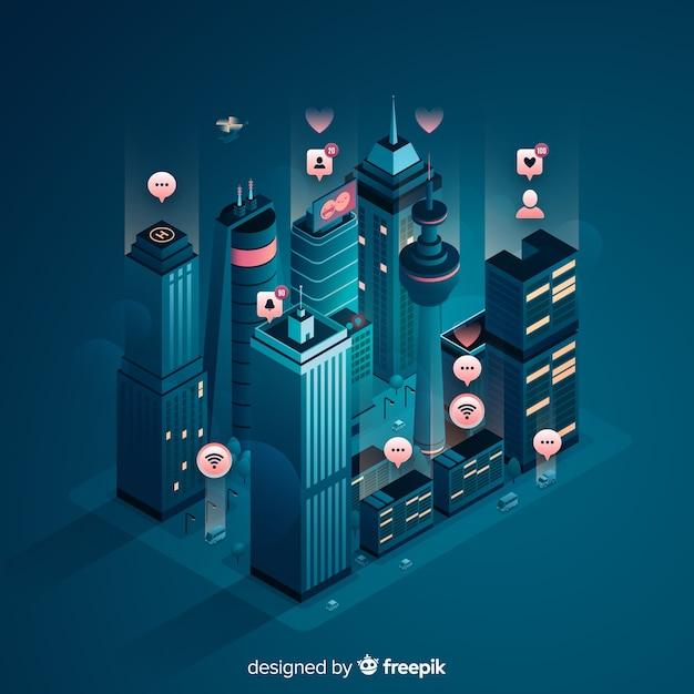 Isometrische slimme stad achtergrond Gratis Vector
