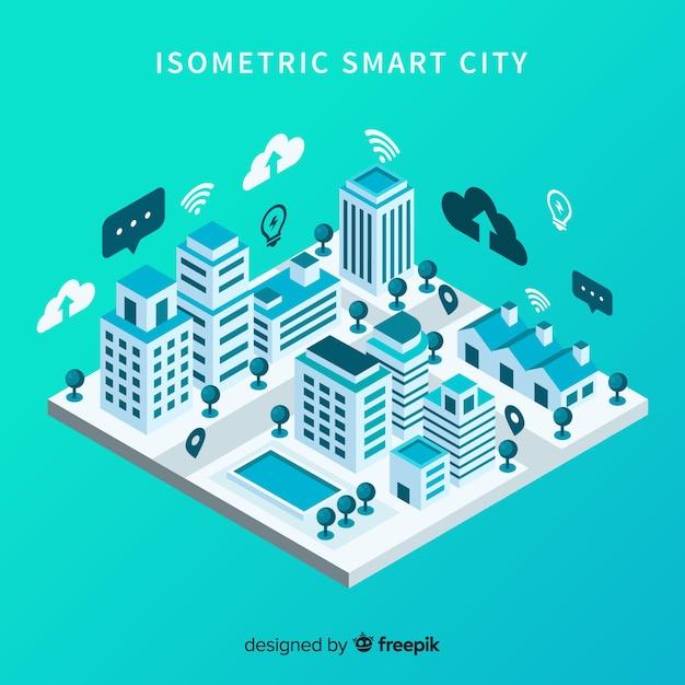 Isometrische slimme stad Gratis Vector