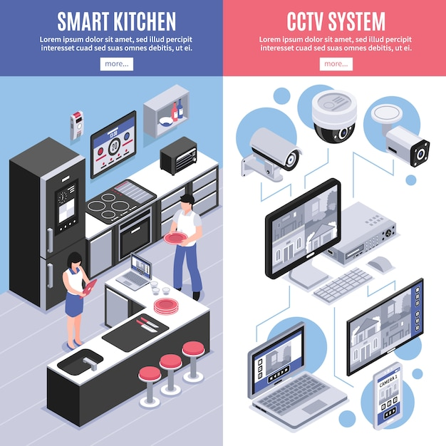 Isometrische smart home banner set Gratis Vector