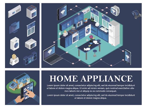 Isometrische smart home-compositie met airconditioning kachel tv jalousie wasmachine broodrooster magnetron muziekcentrum afstandsbediening van huishoudelijke apparaten vanaf apparaten Gratis Vector