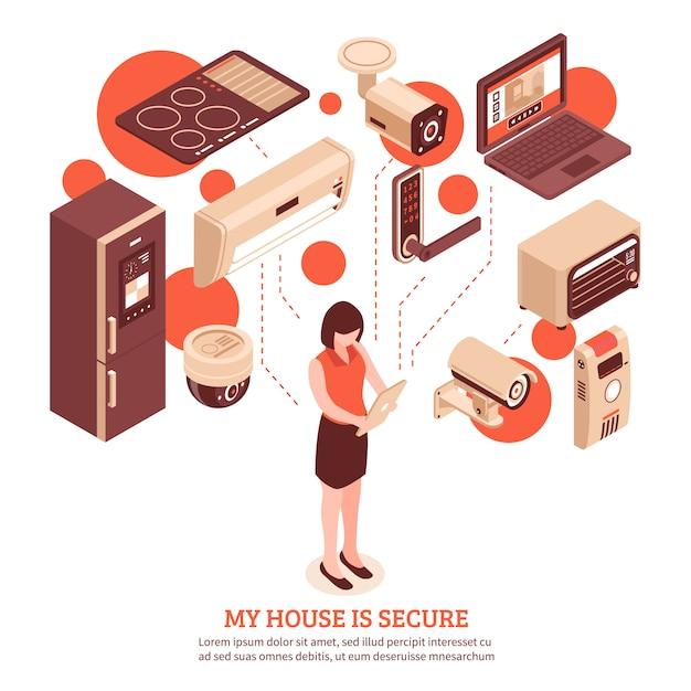 Isometrische smart home Gratis Vector