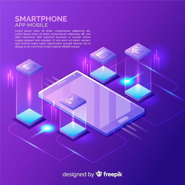 Isometrische smartphone achtergrond Gratis Vector