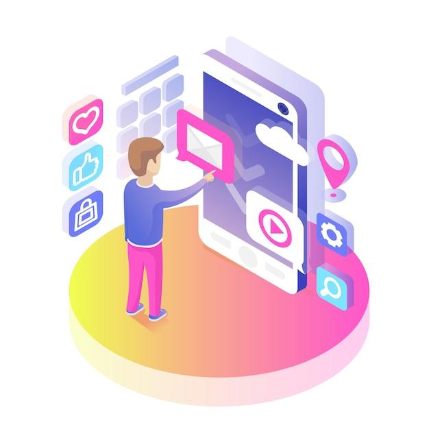 Isometrische smartphone-gebruiker Gratis Vector