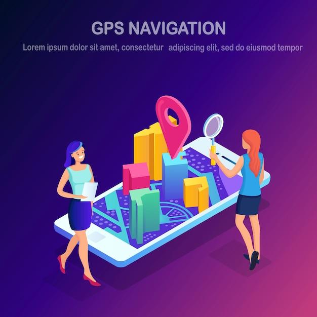 Isometrische smartphone met gps-navigatie-app, tracking. Premium Vector