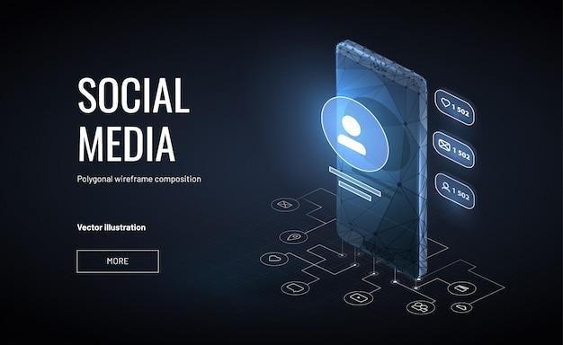 Isometrische sociale media achtergrond met veelhoekige wireframe-stijl Premium Vector