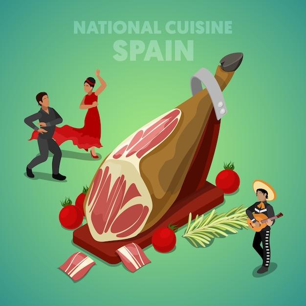 Isometrische spanje nationale keuken met jamon en spaanse mensen in traditionele kleding. vector 3d platte illustratie Premium Vector