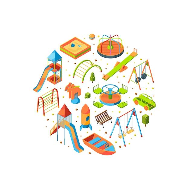 Isometrische speeltuin objecten Premium Vector