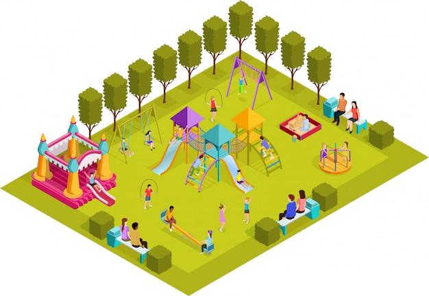 Isometrische speeltuin voor kinderen Gratis Vector