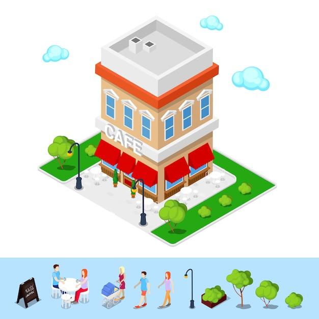 Isometrische stad. city cafe met tafels en bomen. Premium Vector