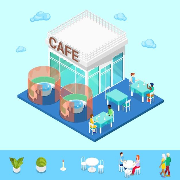 Isometrische stad. city cafe met tafels en mensen Premium Vector