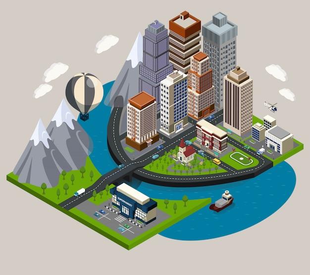 Isometrische stad concept Gratis Vector