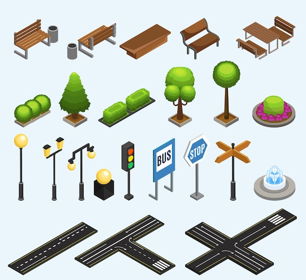 Isometrische stad elementen collectie met banken vuilnisbakken planten palen lantaarns verkeerslicht fontein verkeersborden geïsoleerd Gratis Vector