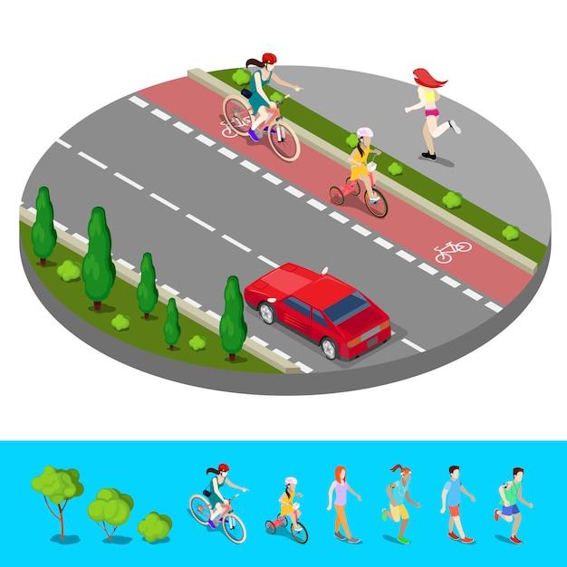 Isometrische stad. fietspad met fietser. voetpad met lopende vrouw. vector illustratie Premium Vector