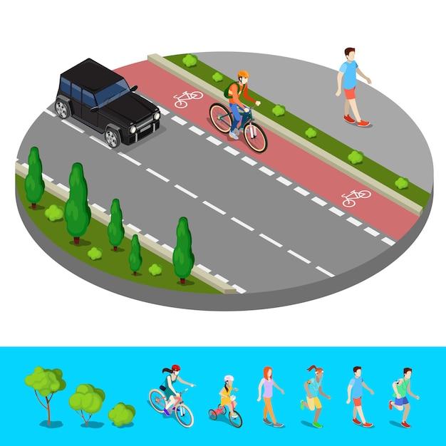 Isometrische stad. fietspad met fietser. voetpad met walking man. vector illustratie Premium Vector