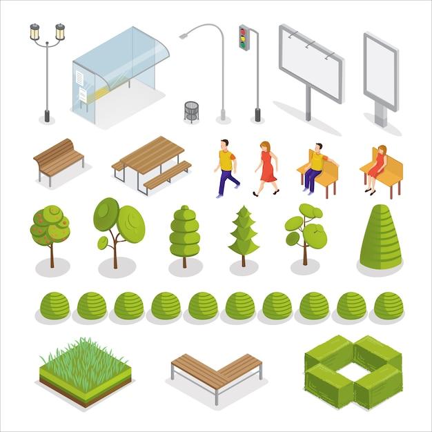 Isometrische stad. isometrische mensen. stedelijke elementen. bomen en planten. Premium Vector