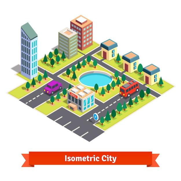 Isometrische stad met wolkenkrabbers en transport Gratis Vector