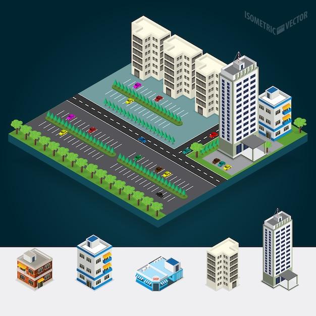 Isometrische stad Premium Vector