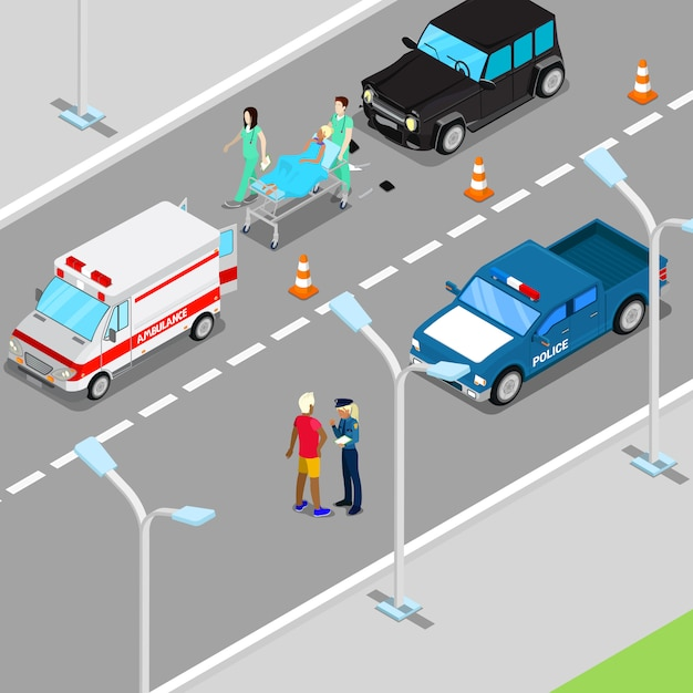 Isometrische stadsauto-ongeval met ambulance en politie-voertuig. Premium Vector