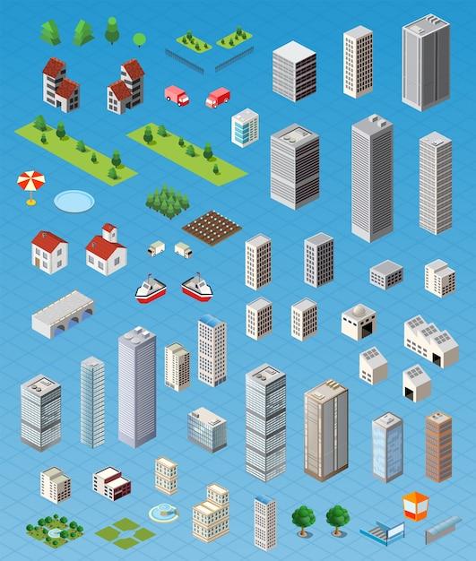 Isometrische stadskaart weg, bomen en gebouw huiselementen instellen geïsoleerd Premium Vector