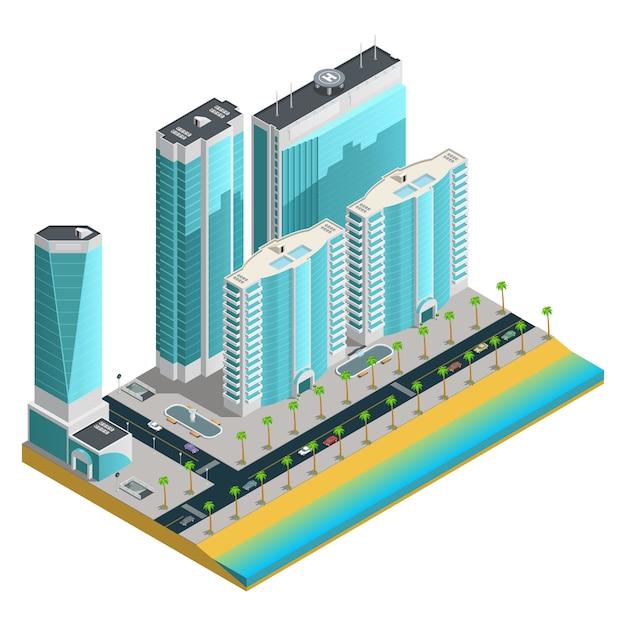 Isometrische stadssamenstelling met moderne wolkenkrabbers en vele tellende huizen op overzeese kust Gratis Vector