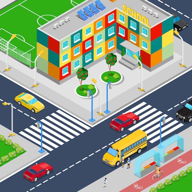 Isometrische stadsschool gebouw met voetbal speeltuin schoolbus en geleerden. Premium Vector