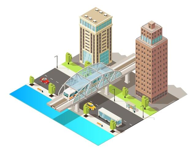 Isometrische stadsverkeer sjabloon met moderne gebouwen bewegende auto's bus en metro in geïsoleerde stadscentrum Gratis Vector