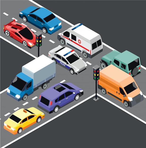 Isometrische stadsvervoer sjabloon Gratis Vector