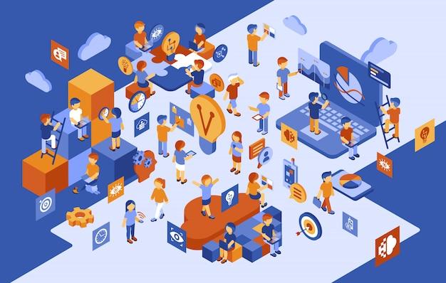 Isometrische start-up mensen zakelijke infographics Premium Vector