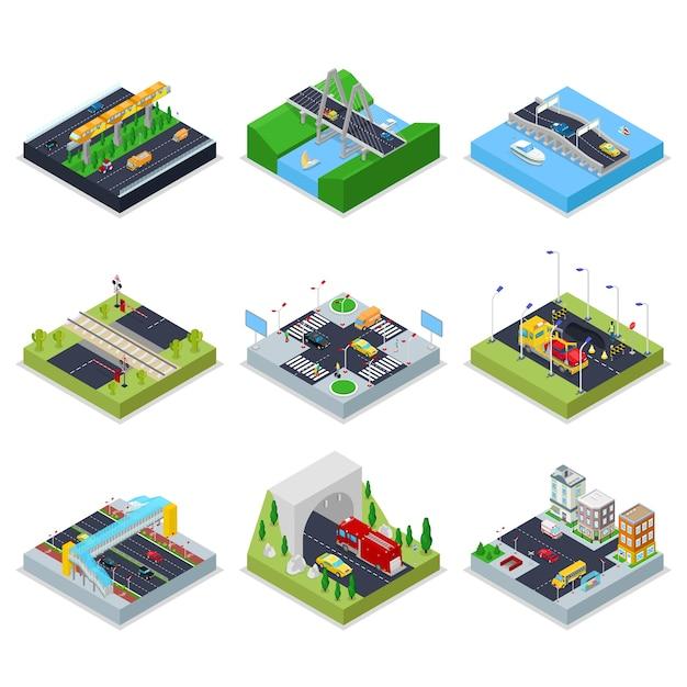 Isometrische stedelijke infrastructuur met wegen Premium Vector
