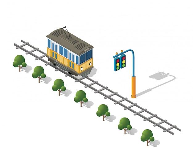 Isometrische stedelijke trammetro Premium Vector