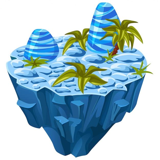 Isometrische stenen eiland. Gratis Vector