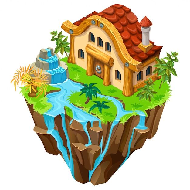 Isometrische stenen gebouw op het eiland. Premium Vector