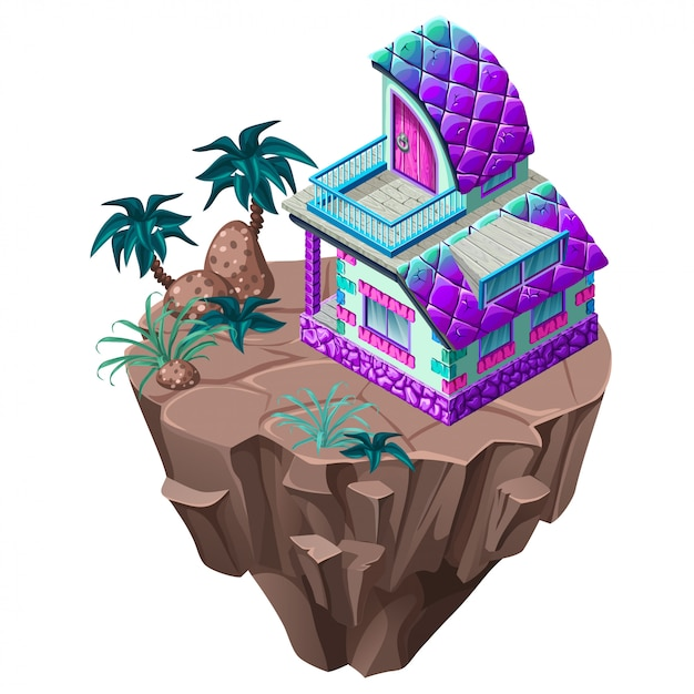 Isometrische stenen huisje op het eiland. Premium Vector