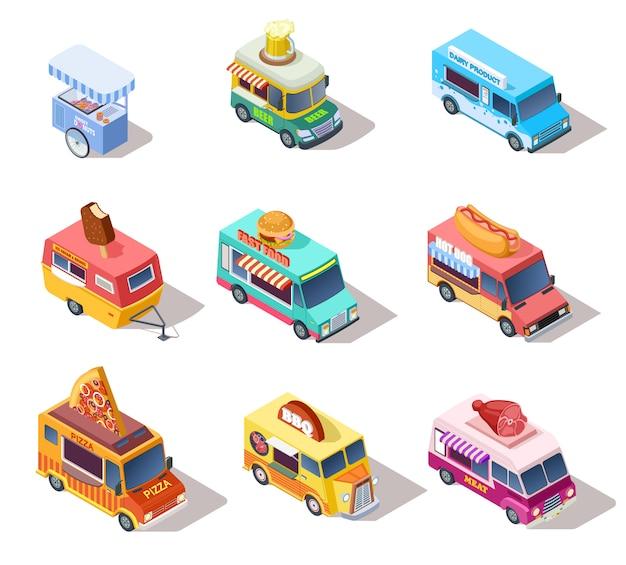 Isometrische straatvrachtwagens en karren. verkoop van hotdogs en koffie, pizza en snacks. 3d-geïsoleerde vector set Premium Vector