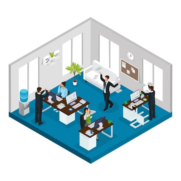 Isometrische stress op het werk concept met werknemers in stressvolle en problematische situaties op kantoor geïsoleerd Gratis Vector